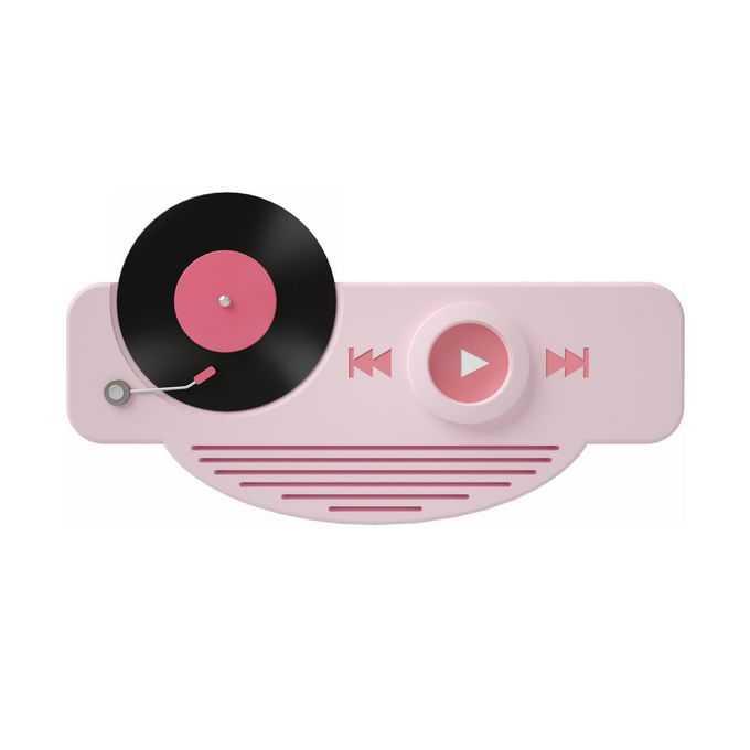 3D立体风格粉色音乐播放器界面和唱片象征了音频剪辑9632316矢量图片免抠素材