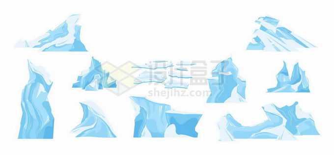 各种蓝白色的卡通冰山冰川和浮冰7651711矢量图片免抠素材免费下载