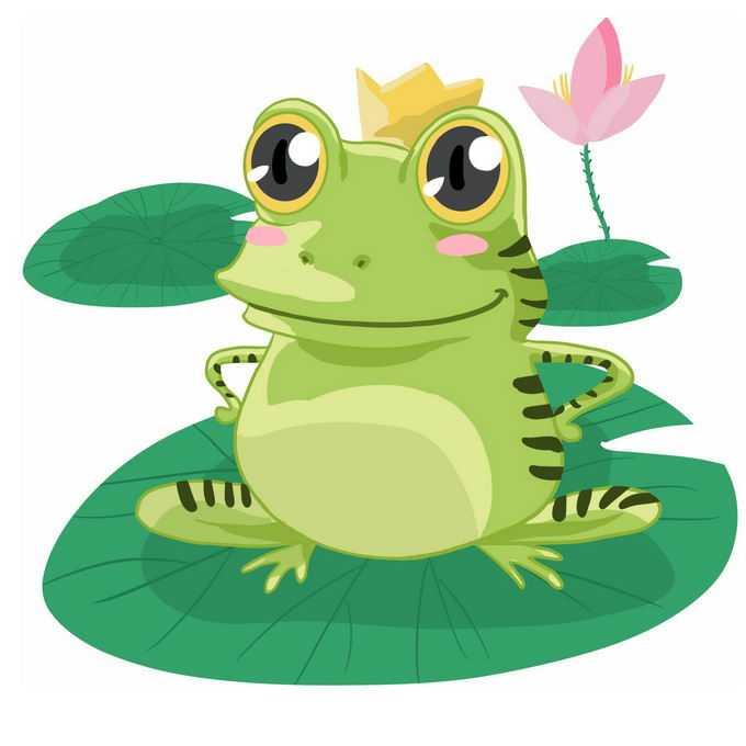 大眼睛的可爱卡通青蛙王子长在莲叶上8119800免抠图片素材