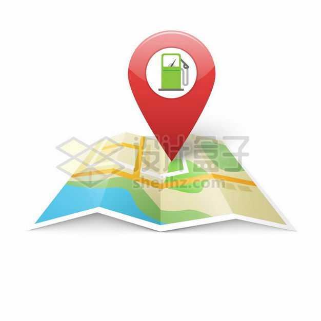 展开地图上的红色定位标志上的加油站6977141矢量图片免抠素材