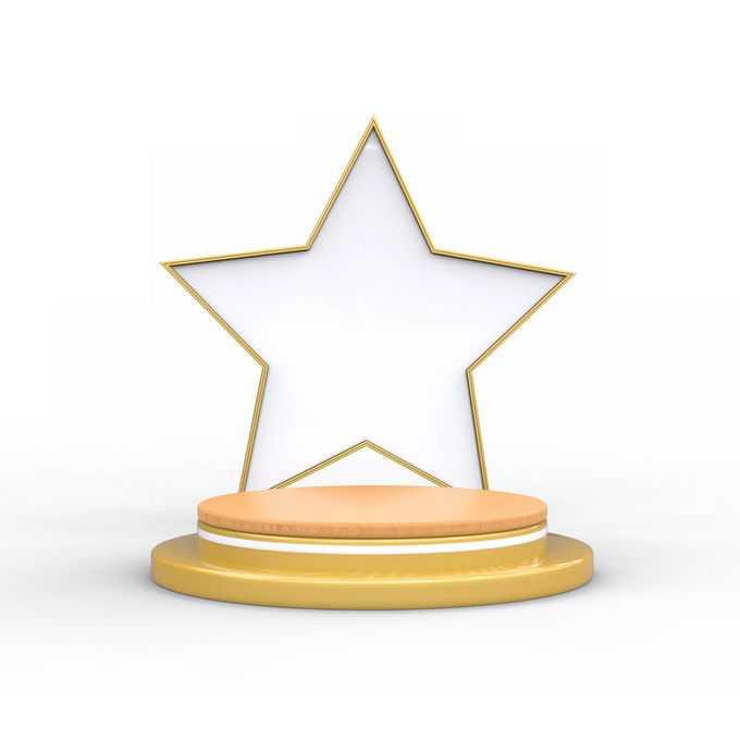 3D立体风格金色圆形舞台展台和上面的空心五角星6285094矢量图片免抠素材