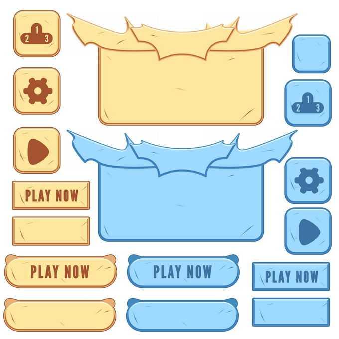 各种卡通描边风格的游戏按钮和控制面板设置按钮2410073免抠图片素材免费下载