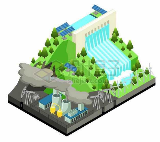 2.5D风格水力发电站太阳能风力发电和石油开采工业5740431矢量图片免抠素材