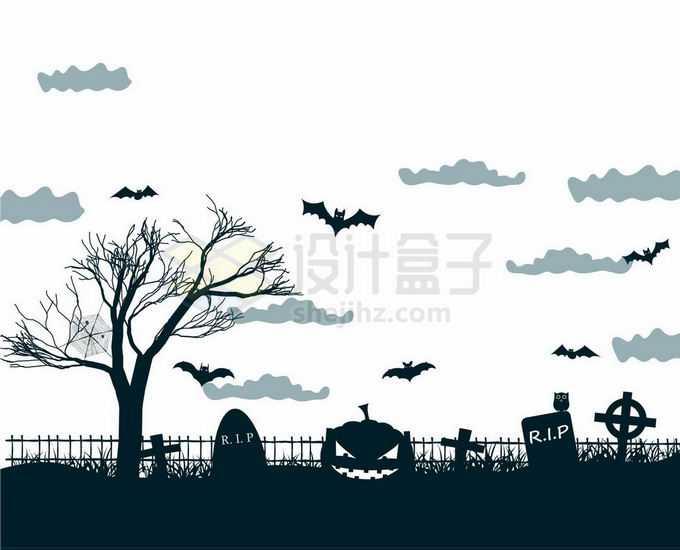 夜晚的坟地墓园中的墓碑枯树猫头鹰和空中的蝙蝠恐怖剪影5194517矢量图片免抠素材