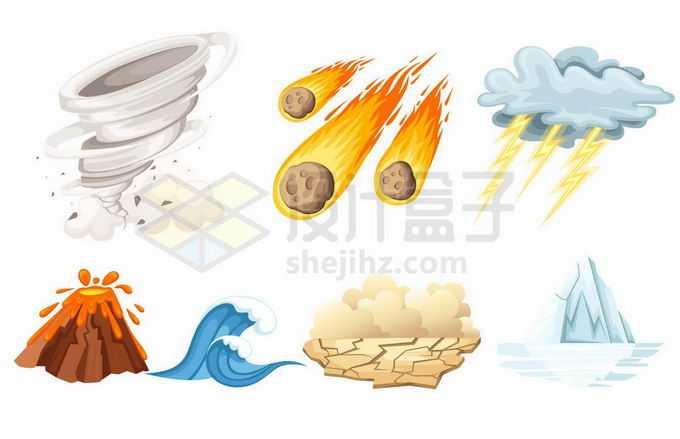 卡通龙卷风陨石雷暴天气火山喷发海啸旱灾和冰山等自然灾害7639018矢量图片免抠素材