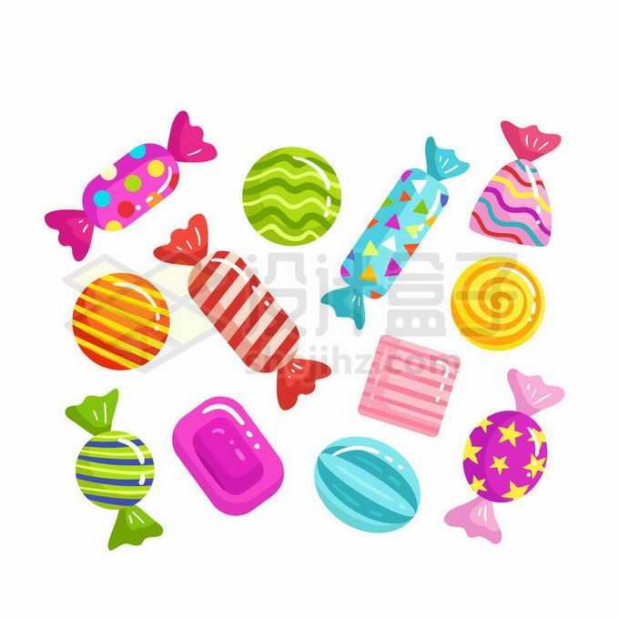 各种各样彩色包装的糖果美味零食2936999矢量图片免抠素材