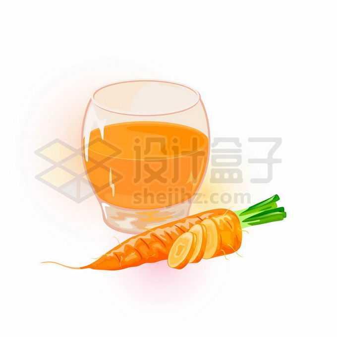切开的胡萝卜美味蔬菜和一杯胡萝卜汁橙色美味蔬菜汁8953567矢量图片免抠素材