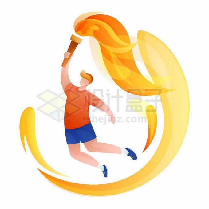 举着奥运会火炬的运动员插画7375654矢量图片免抠素材