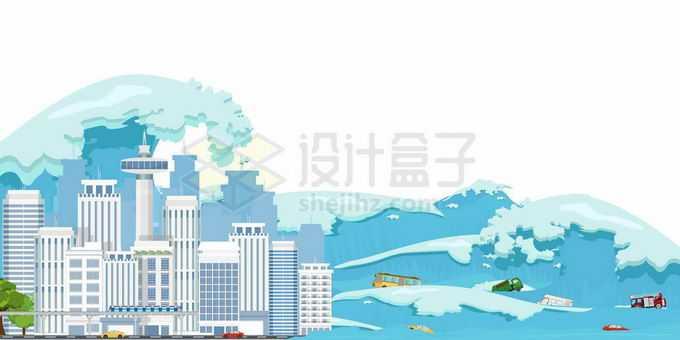 海啸滔天洪水来临被淹没的城市和街道3129891矢量图片免抠素材免费下载