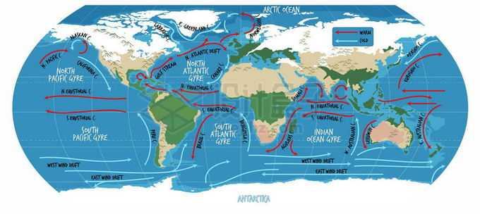 全球洋流分布暖流寒流海流世界地图7257759矢量图片免抠素材免费下载
