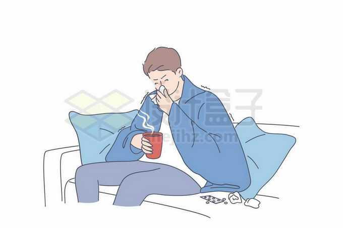 生病坐在沙发上擦鼻涕吃感冒药的男人手绘线条插画2472634矢量图片免抠素材免费下载