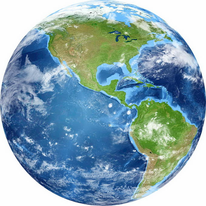 逼真的地球定位在东太平洋和南北美洲地区png免抠图片素材 科学地理-第1张