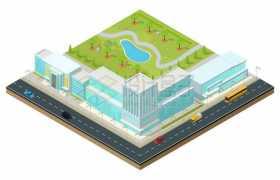 2.5D风格被街道和建筑物包围的城市公园3372662矢量图片免抠素材免费下载