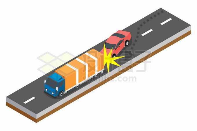 2.5D风格马路上发生的车祸汽车追尾事故2849839矢量图片免抠素材免费下载