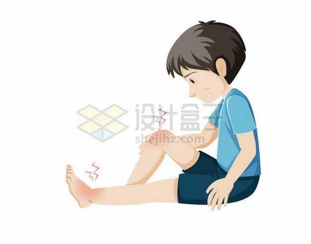 卡通男孩坐在地上膝盖和脚踝扭伤跌打损伤疼痛2065927矢量图片免抠素材