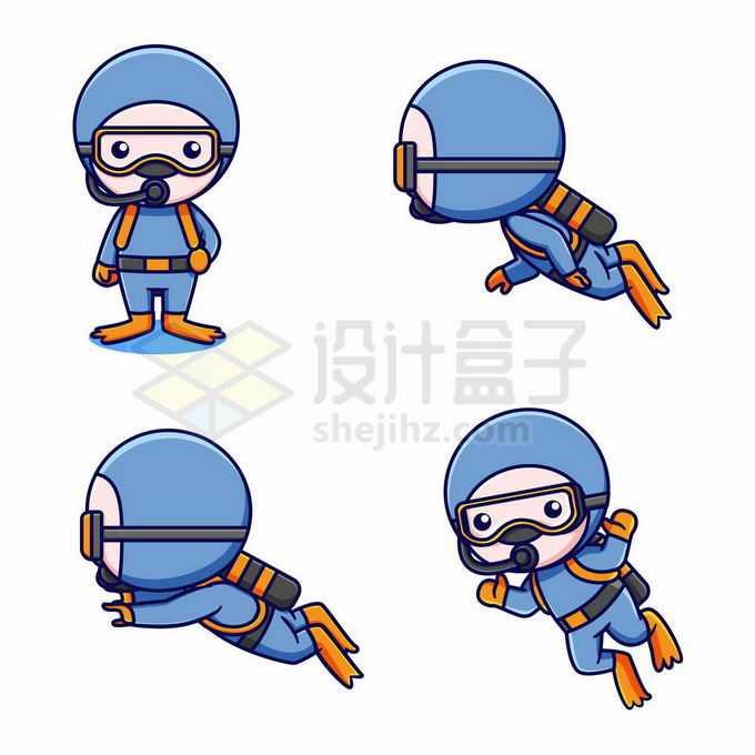 4款卡通潜水员2161272矢量图片免抠素材