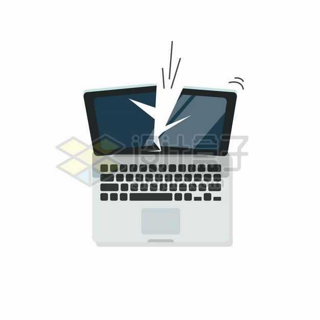 断裂的笔记本电脑屏幕废旧电脑家电3868676矢量图片免抠素材