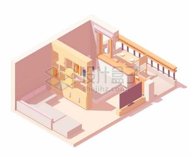 2.5D风格卧室套间装修大床沙发隔断和阳台喝茶的地方8305461矢量图片免抠素材