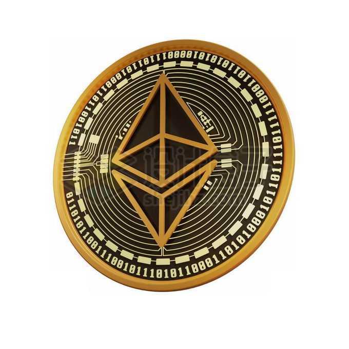 3D立体风格黑金色金属以太币硬币金币1302867免抠图片素材