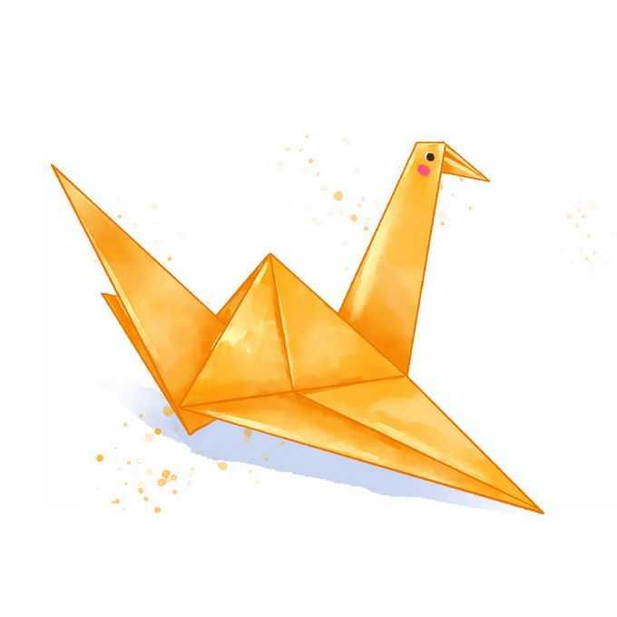 一只黄色千纸鹤水彩画插画3909765免抠图片素材