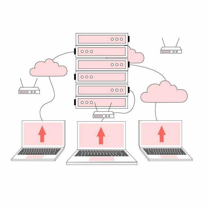 云服务器和笔记本电脑路由器云计算技术插画6604082矢量图片素材
