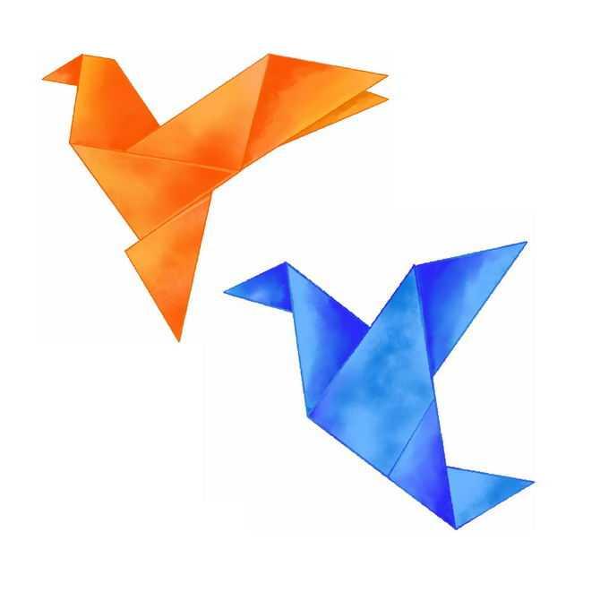 2个橙色蓝色千纸鹤水彩画插画7869845免抠图片素材