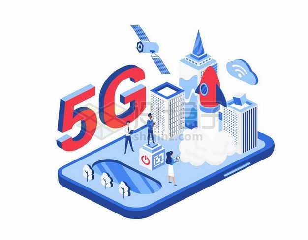 2.5D风格5G手机上的智慧城市9345271矢量图片免抠素材