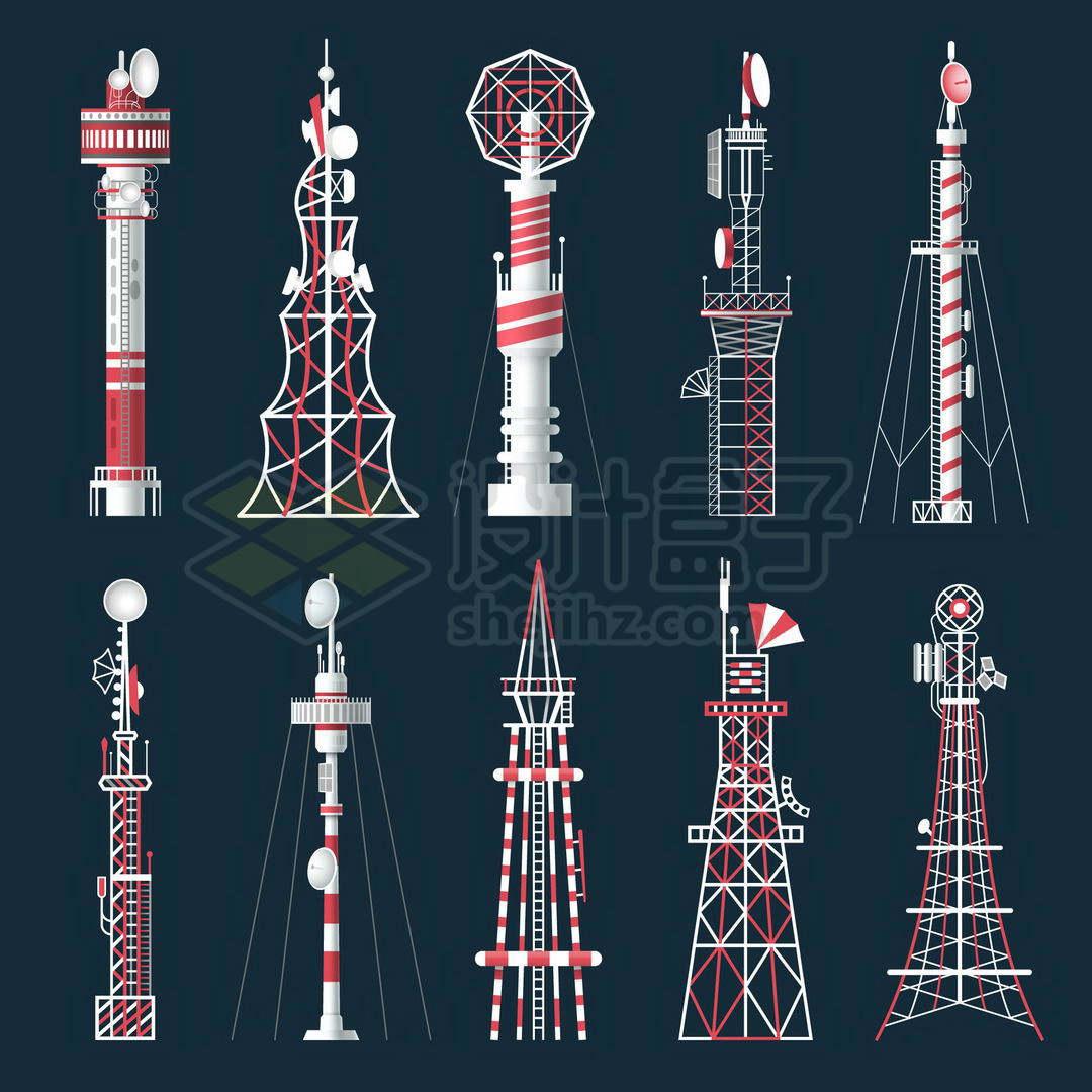 10款红白色相间的5G信号发射塔铁塔8020026矢量图片免抠素材