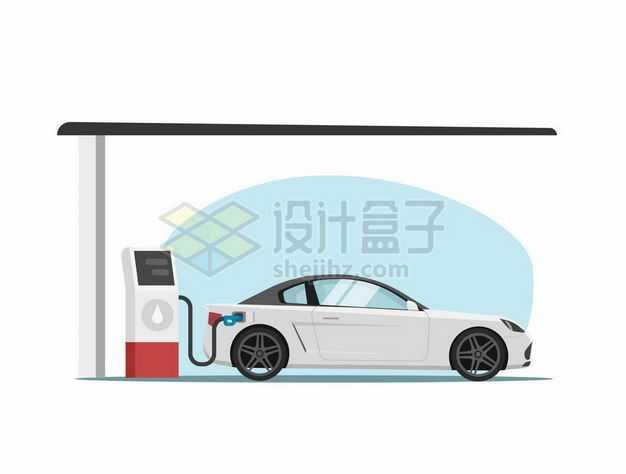 正在加油站加油机上添加燃油的小汽车7926563矢量图片免抠素材