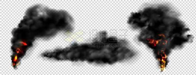 3款燃烧产生的浓烟滚滚黑烟柱效果7740288矢量图片免抠素材