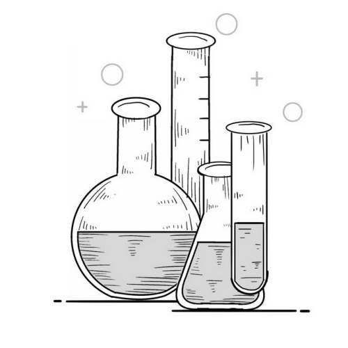 手绘线条涂鸦风格试管锥形瓶圆底瓶等化学实验仪器3566048图片免抠素材免费下载