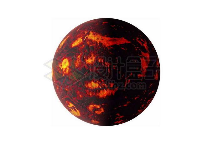 充满红色岩浆海洋的太古宙早期地球或系外行星png免抠高清图片素材 科学地理-第1张