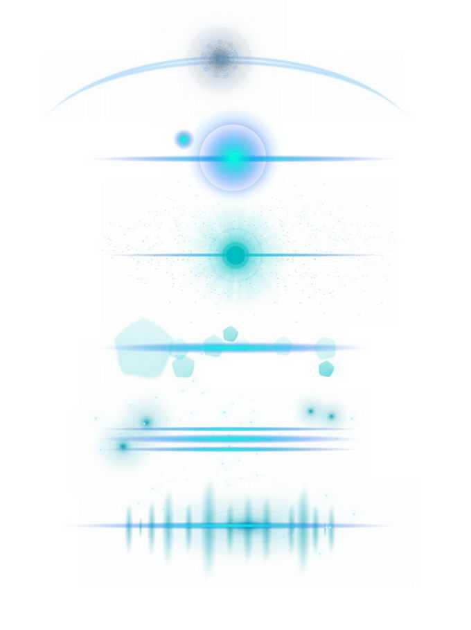 6款蓝色光芒星光光晕效果3876153图片免抠素材免费下载