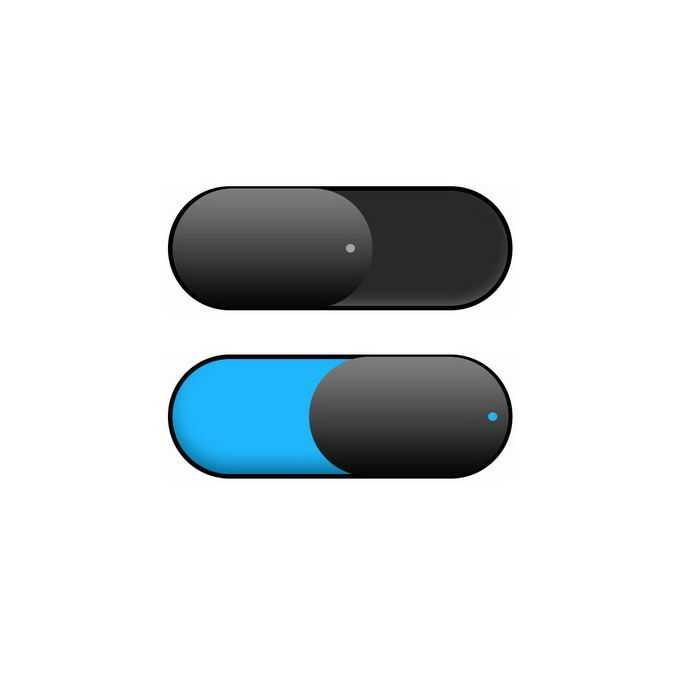 唯美风格的黑色蓝色切换按钮开关按钮7245997免抠图片素材免费下载