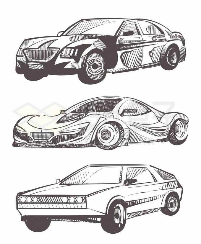 3款手绘涂鸦风格汽车跑车插画8142362矢量图片免抠素材免费下载