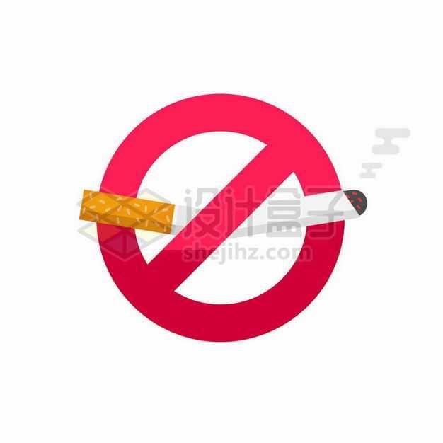 掐断的香烟和红色禁止标志禁止吸烟标识7923253矢量图片免抠素材