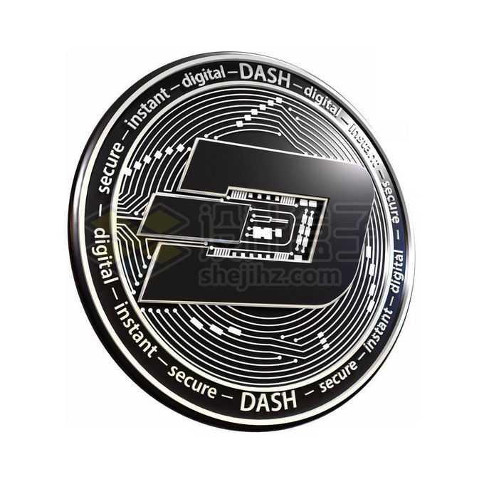 3D立体风格黑色达世币硬币金币5900435免抠图片素材