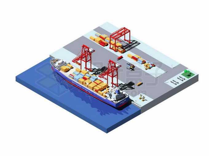 2.5D风格繁忙的港口码头上停泊着一艘集装箱货轮正在卸货5379208矢量图片免抠素材免费下载