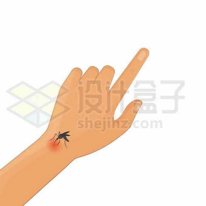 一只蚊子趴在手腕上吸血都有大包了6997160矢量图片免抠素材免费下载