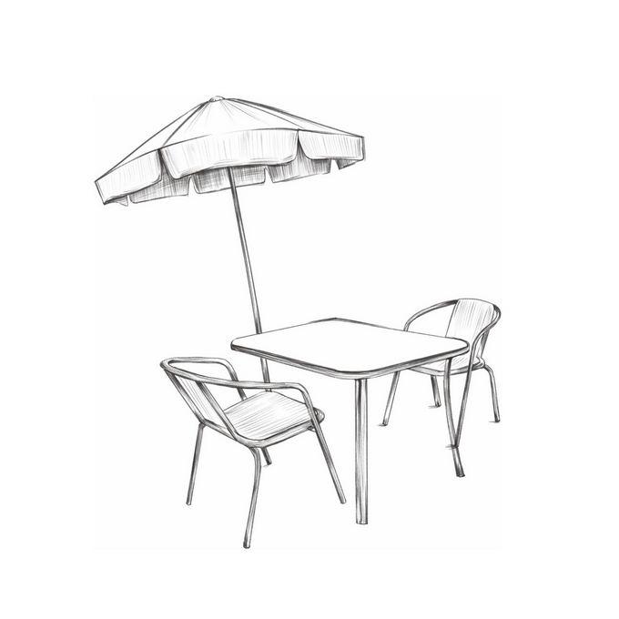 户外的休闲桌子椅子和遮阳伞手绘线条涂鸦插画4973580图片免抠素材免费下载 插画-第1张