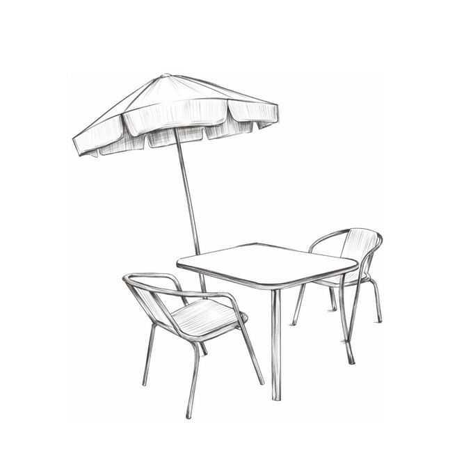 户外的休闲桌子椅子和遮阳伞手绘线条涂鸦插画4973580图片免抠素材免费下载