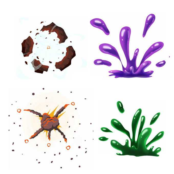 4种卡通漫画风格的彩色爆炸效果1664353矢量图片免抠素材