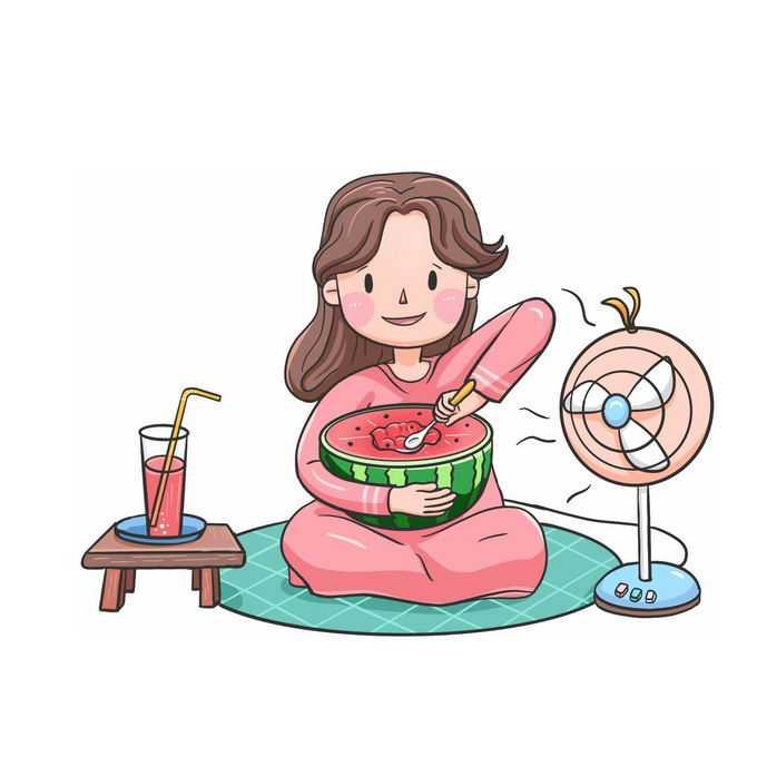 炎炎夏日在家吹电风扇吃西瓜惬意的暑假生活8996969图片免抠素材免费下载