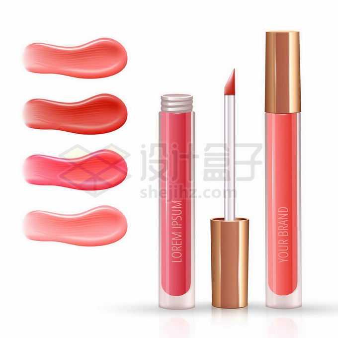 红色唇釉口红化妆品和涂抹效果1105404矢量图片免抠素材