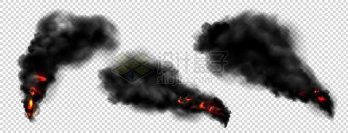 3款燃烧产生的浓烟滚滚黑烟柱效果5998894矢量图片免抠素材