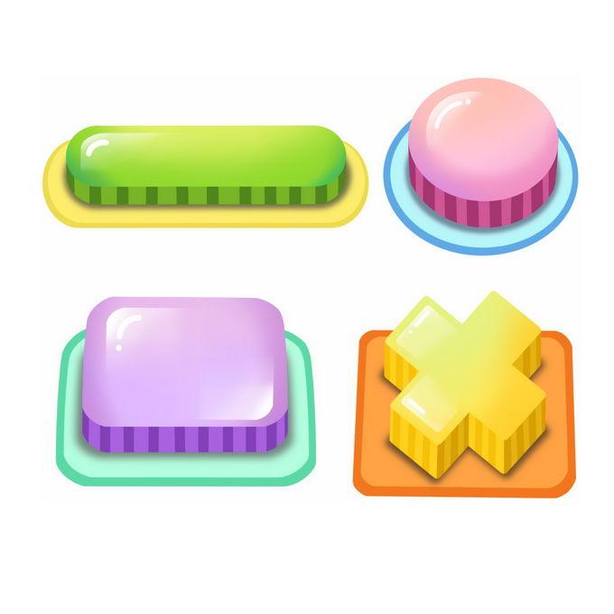 4款卡通风格3D游戏按钮1426176免抠图片素材免费下载 按钮元素-第1张