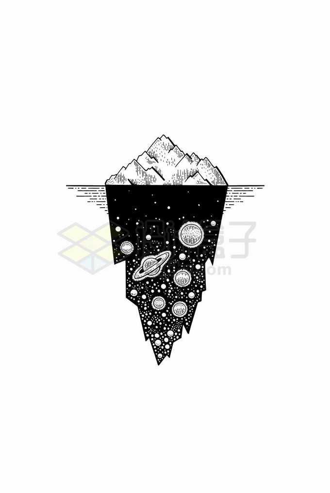 抽象风格黑白色冰山下的星空插画1504356矢量图片免抠素材