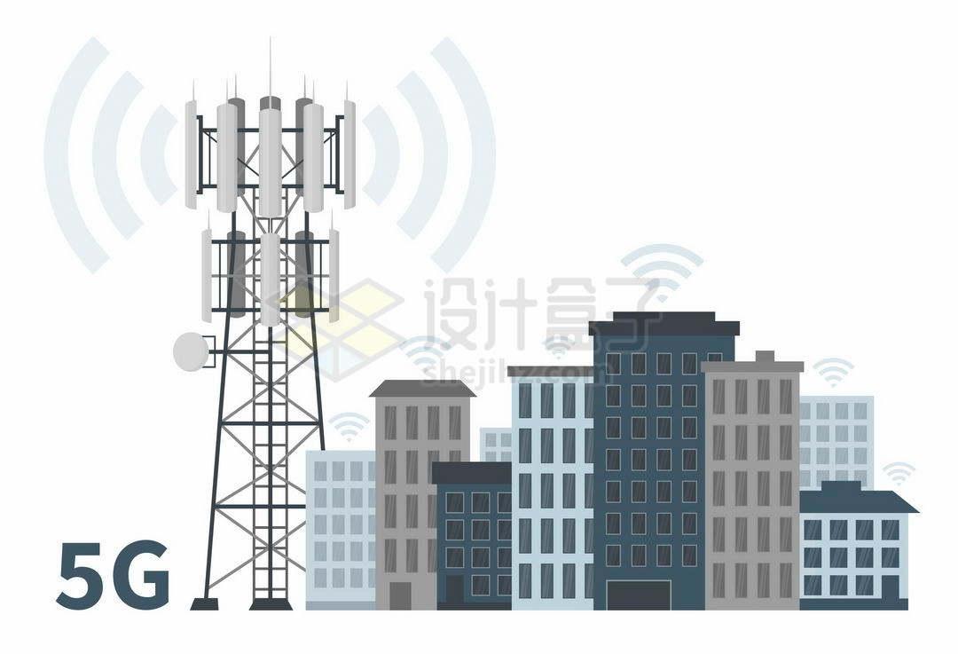 5G移动信号发射塔和周围的城市建筑高楼大厦4156340矢量图片免抠素材