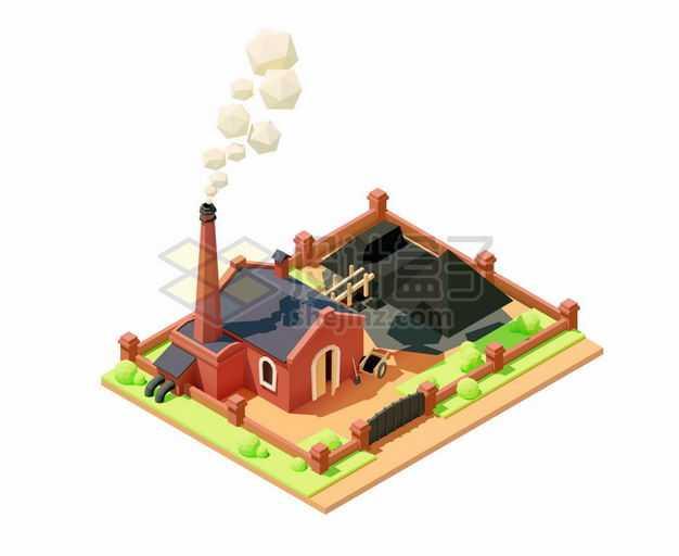 2.5D风格燃煤发电厂工厂厂房6797230矢量图片免抠素材