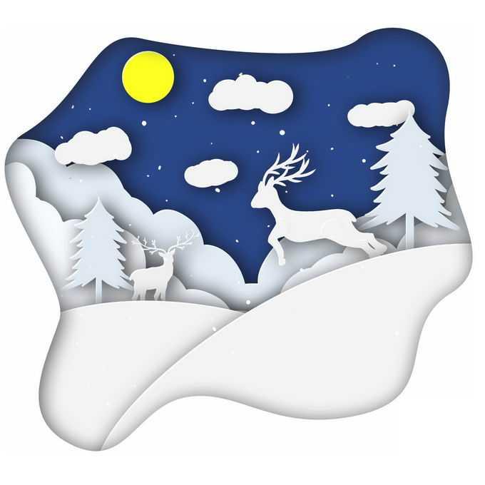 剪纸叠加风格冬天大雪覆盖的山坡和森林里的驯鹿雪景9721283免抠图片素材
